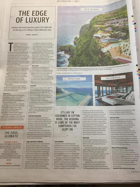Print feature article in Morning Herald Escape travel guide