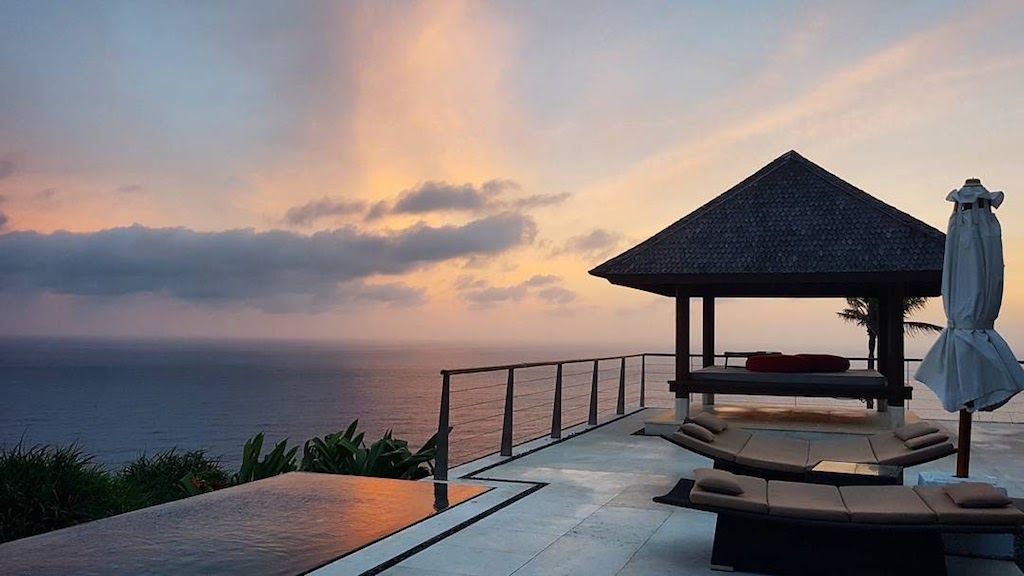 The villa at sunset at The Edge, Bali