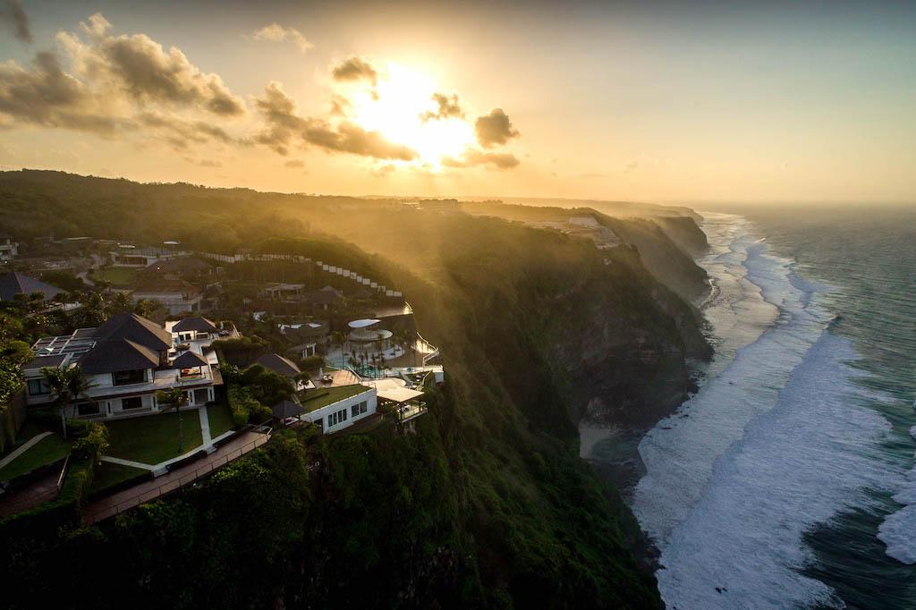 Aerial drone shot of resort