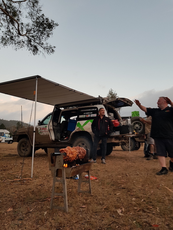 Spit Roast camping with 4WD
