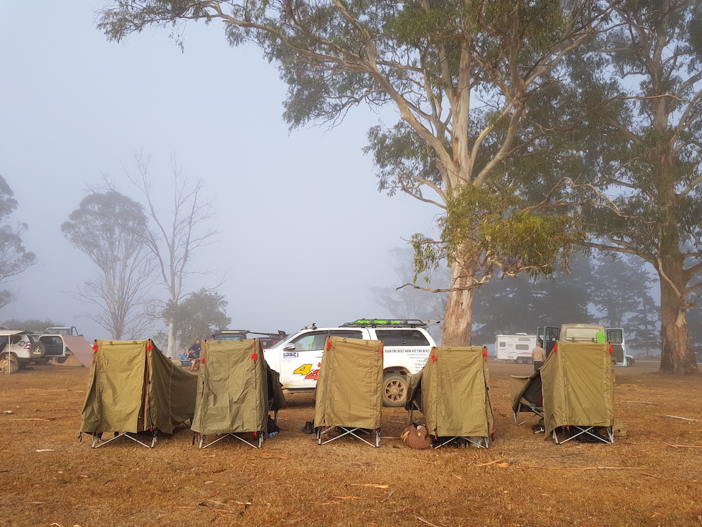 Row of one man tents Tasmania