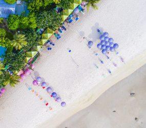beach resort and umbrellas