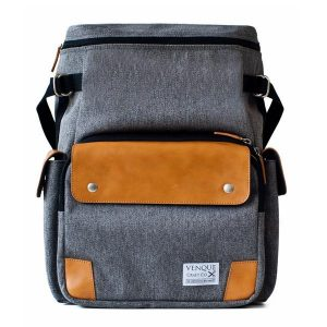 grey and tan convertable camera backpack from venque